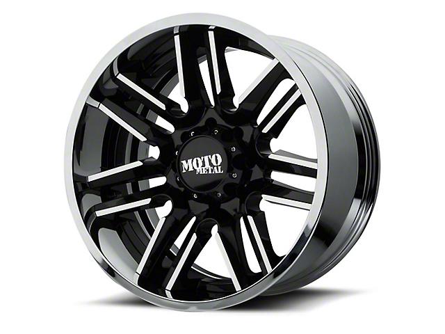 Moto Metal MO202 Gloss Black Machined w/ Chrome Lip 6-Lug Wheel - 22x12; -44mm Offset (99-19 Silverado 1500)
