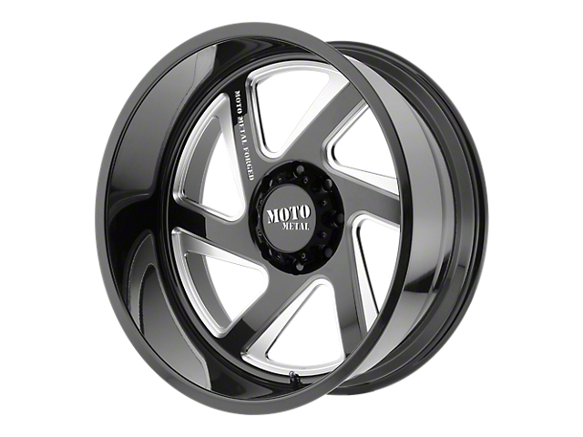 Moto Metal MO400 Gloss Black Milled 6-Lug Wheel - Passenger Side - 22x14; -76mm Offset (99-19 Silverado 1500)