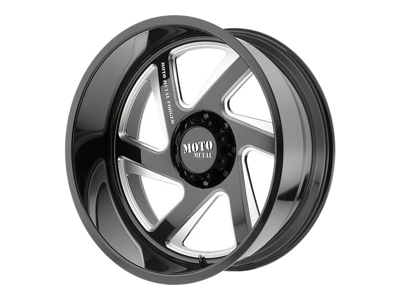 Moto Metal MO400 Gloss Black Milled 6-Lug Wheel - Passenger Side - 24x12; -44mm Offset (99-19 Silverado 1500)