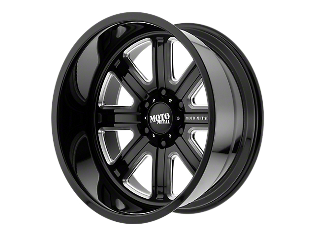 Moto Metal MO402 Gloss Black Milled 6-Lug Wheel - 24x12; -44mm Offset (99-19 Silverado 1500)