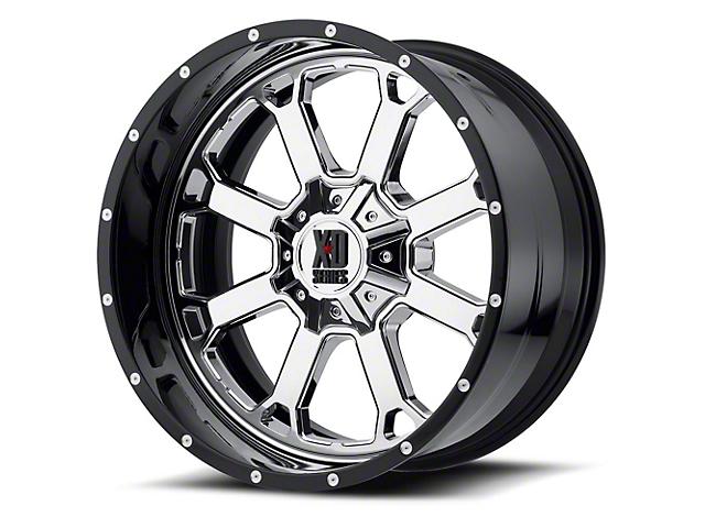XD Buck 25 Chrome with Gloss Black Milled Lip 6-Lug Wheel; 22x12; -44mm Offset (14-18 Silverado 1500)