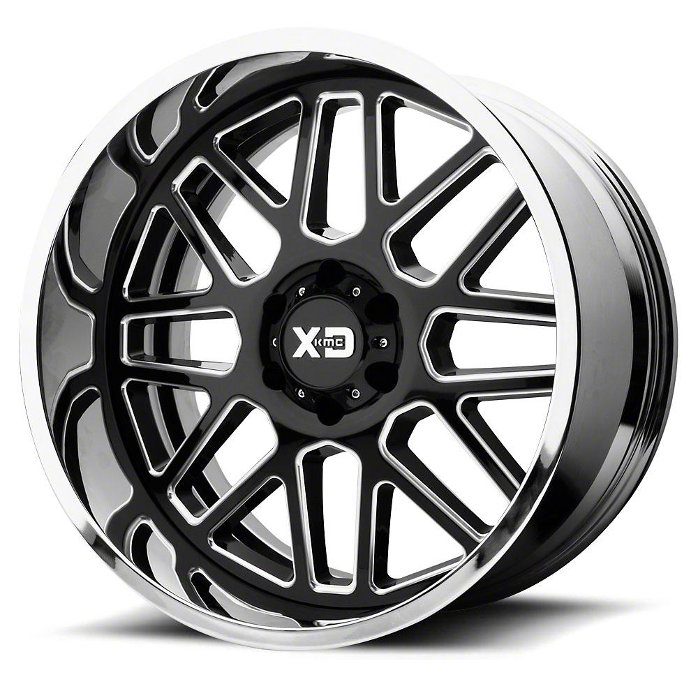 XD Grenade Gloss Black Milled w/ Chrome Lip 6-Lug Wheel - 22x12 (99-18 Silverado 1500)