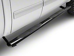 Barricade Off-Road 4-Inch Oval Straight End Running Boards; Black (07-13 Silverado 1500 Extended Cab, Crew Cab)