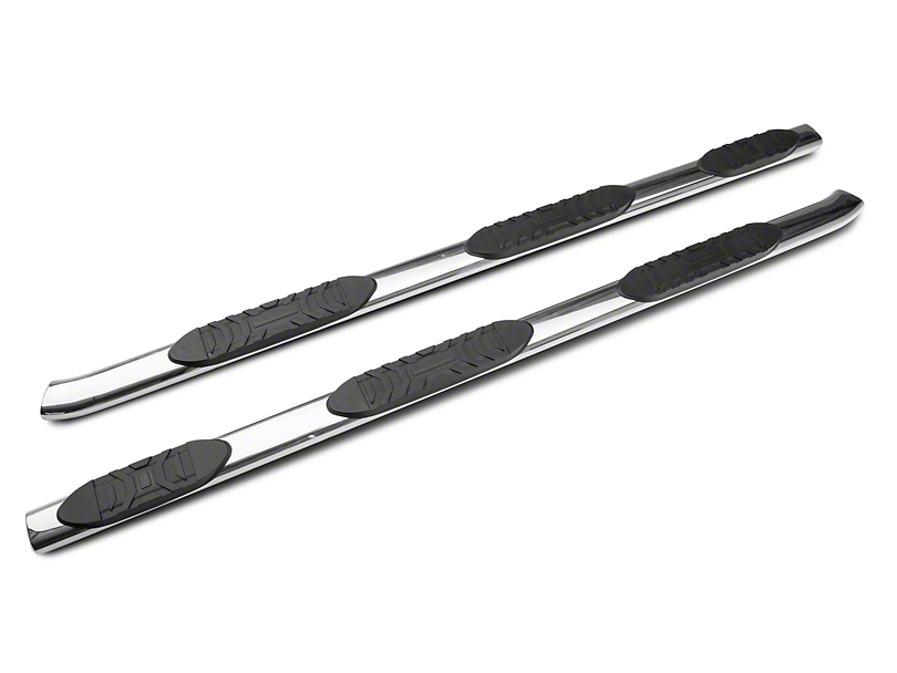 Duratrek 5 in. Oval Bent End Wheel to Wheel Side Step Bars - Stainless Steel (99-06 Silverado 1500 Extended Cab w/ Standard Box)