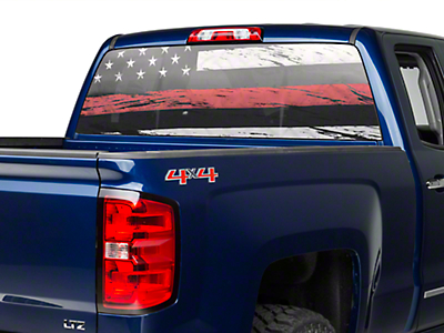Perforated Real Flag Rear Window Decal w/ Red Line (99-18 Silverado 1500)
