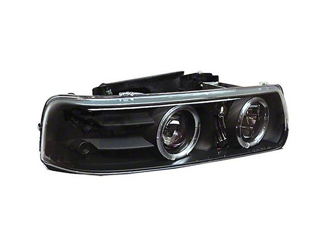 LED Halo Projector Headlights - Black (99-02 Silverado 1500)