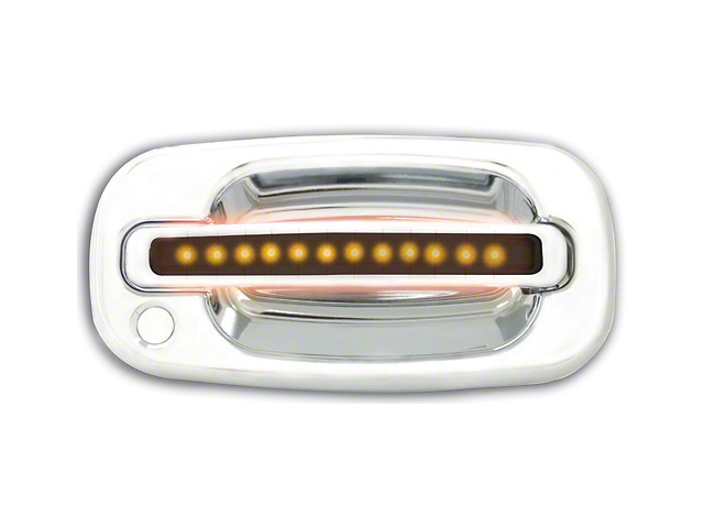 Modern Billet Front Chrome Door Handles w/ Amber LED & Smoked Lens (99-06 Silverado 1500)