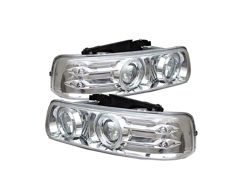 LED Halo Projector Headlights - Chrome (99-02 Silverado 1500)