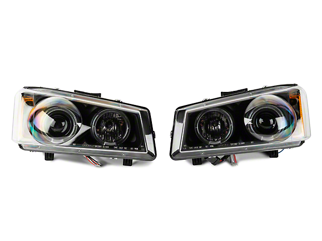 LED Halo Projector Headlights - Black (03-06 Silverado 1500)