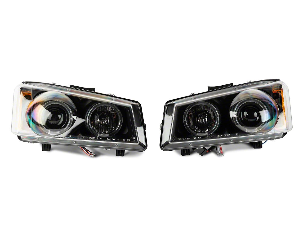 Axial Black Projector Headlights w/ LED Halo (03-06 Silverado 1500)