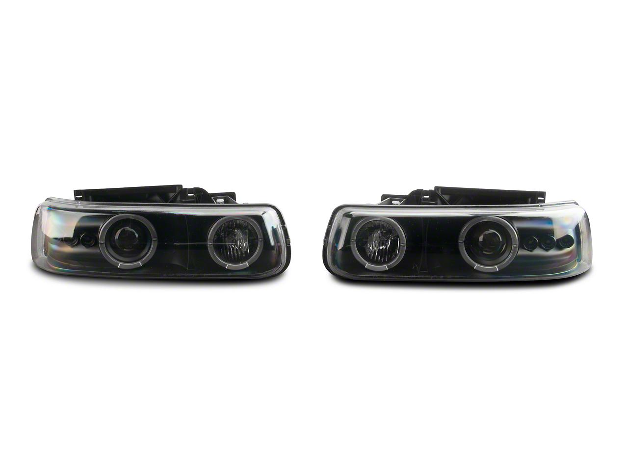 Axial Black LED Dual Halo Projector Headlights (99-02 Silverado 1500)