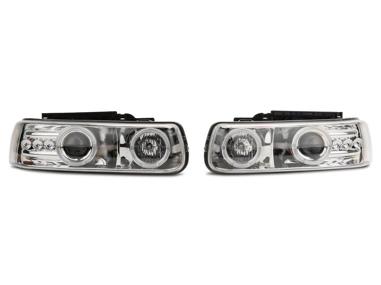 Axial Chrome LED Dual Halo Projector Headlights (99-02 Silverado 1500)