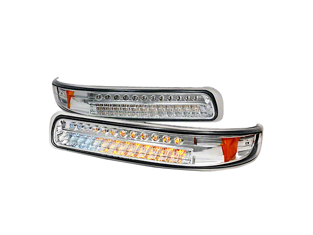 Axial Chrome Led Turn Signal Parking Lights Clear Lens 99 02 Silverado 1500