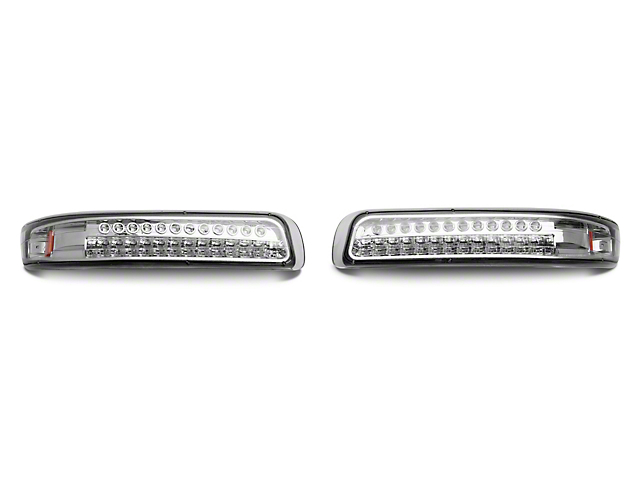 Axial Chrome Led Turn Signal Parking Lights W Amber Reflector Clear Lens 99 02 Silverado 1500