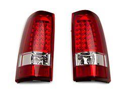 LED Tail Lights; Chrome Housing; Red/Clear Lens (99-02 Sierra 1500 Fleetside)