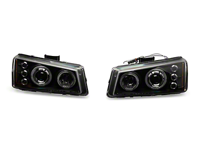 Axial Black Dual Halo Projector Headlights w/ LED Lights (03-06 Silverado 1500)