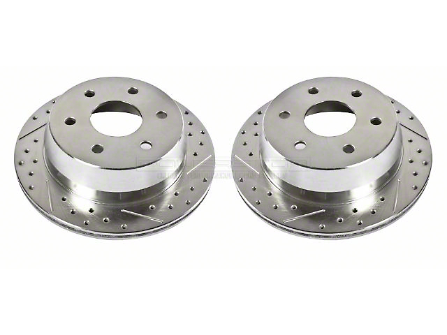 Power Stop Evolution Cross-Drilled & Slotted 6-Lug Rotors - Rear Pair (99-06 Silverado 1500 w/o Rear Drum Brakes)