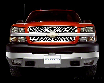 Liquid Spider Web Upper Overlay Grilles - Polished (03-05 Silverado 1500)