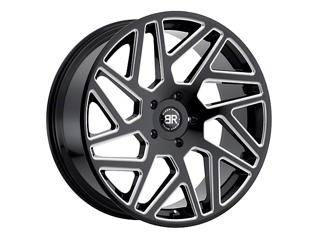 Black Rhino Cyclone Gloss Black Milled 6-Lug Wheel; 22x9.5; 15mm Offset (14-18 Silverado 1500)