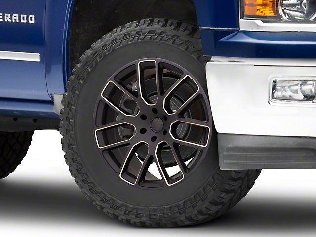 Black Rhino Kunene Matte Black Dart Tint Milled 6-Lug Wheel; 24x10; 25mm Offset (14-18 Silverado 1500)