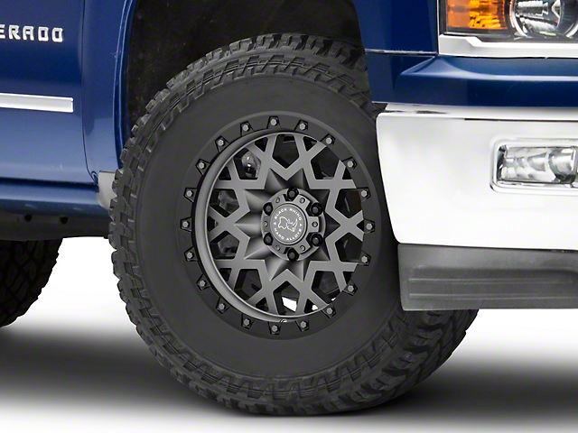 Black Rhino Sprocket Matte Gunmetal with Gloss Black Face 6-Lug Wheel; 18x9.5; -18mm Offset (14-18 Silverado 1500)