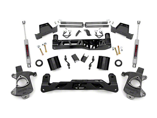 Rough Country 7 in. Suspension Lift Kit w/ N3 Shocks (14-18 2WD Silverado 1500 w/ Stamped Steel or Cast Aluminum Control Arms)