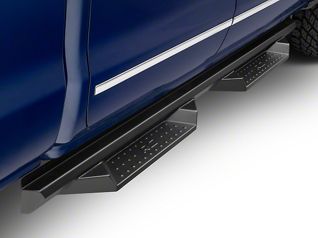 Rough Country Cab Length DS2 Drop Side Step Bars; Black (07-18 Silverado 1500 Double/Extended Cab)