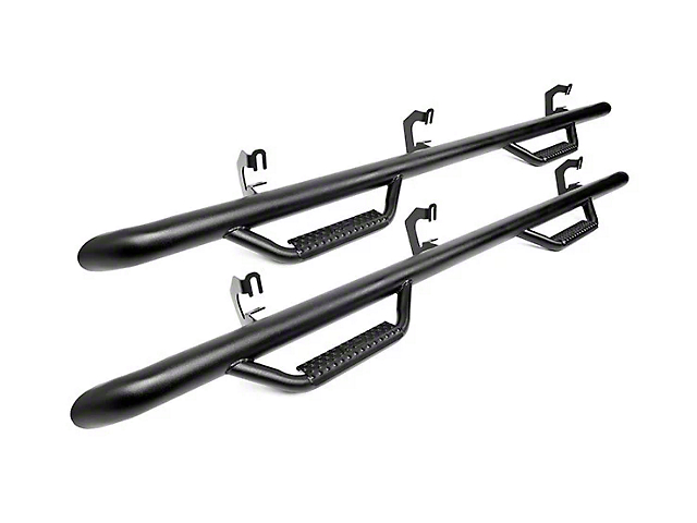 Rough Country Wheel to Wheel Nerf Side Step Bars; Black (14-18 Silverado 1500 Double Cab)