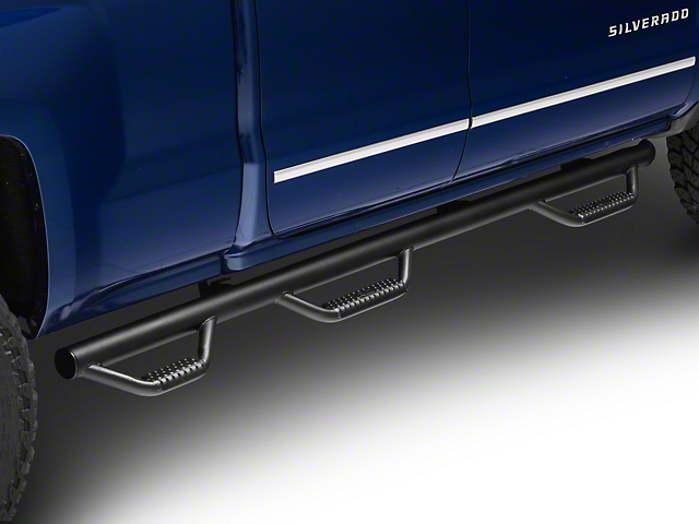 Rough Country Wheel to Wheel Nerf Step Side Step Bars with Bed Access; Black (14-18 Silverado 1500 Crew Cab w/ Short Box)