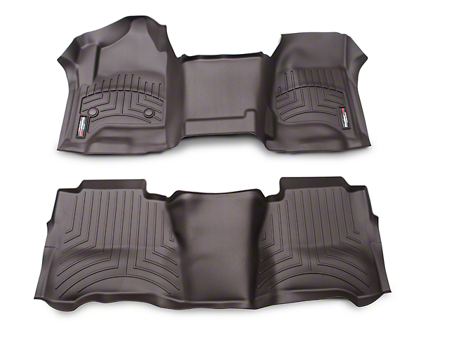 Weathertech DigitalFit Front Over the Hump and Rear Floor Liners; Cocoa (14-18 Silverado 1500 Crew Cab)