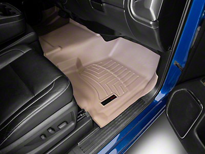 Weathertech DigitalFit Front & Rear Floor Liners - Over The Hump - Tan (14-18 Silverado 1500 Double Cab)