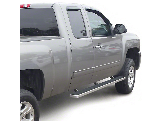 4-Inch iStep Running Boards; Hairline Silver (99-13 Silverado 1500 Extended Cab)