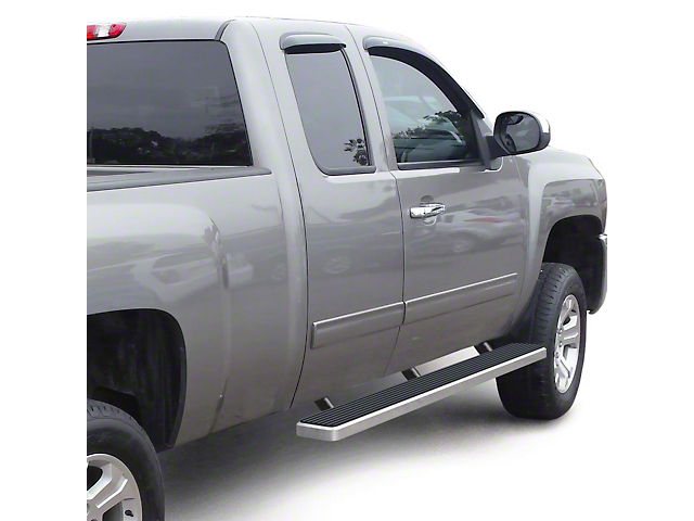 5-Inch iStep Running Boards; Hairline Silver (99-13 Silverado 1500 Extended Cab)