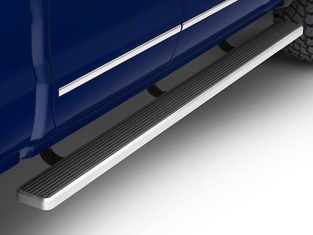 6-Inch iStep Running Boards; Hairline Silver (07-18 Silverado 1500 Extended/Double Cab)
