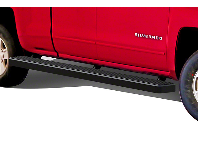 6-Inch iStep Wheel-to-Wheel Running Boards; Black (07-18 Silverado 1500 Extended/Double Cab)