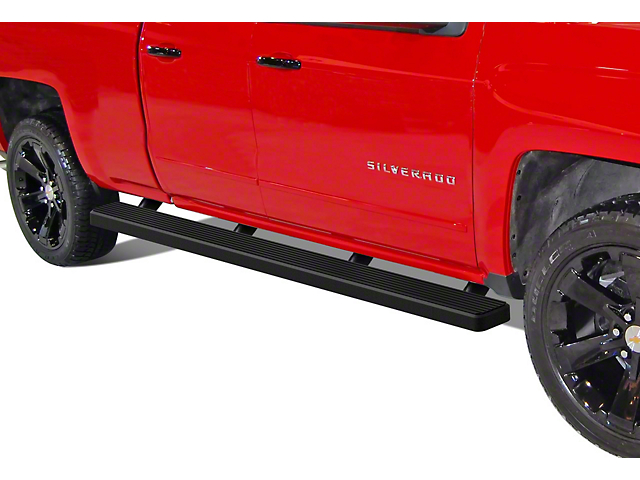 5-Inch iStep Wheel-to-Wheel Running Boards; Black (07-18 Silverado 1500 Extended/Double Cab)