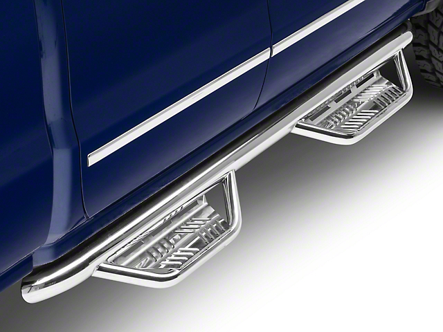 Havoc Offroad HS2 Hoop Side Step Bars; Polished (14-18 Silverado 1500 Double Cab)