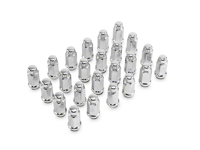 Chrome XL Acorn Lug Nut Kit; 14mm x 1.5; Set of 24 (99-21 Silverado 1500)