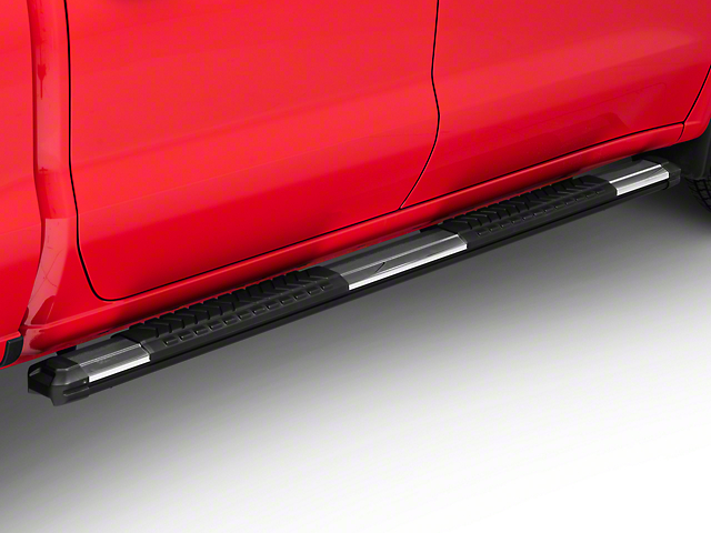 Barricade Saber 5 in. Aluminum Side Step Bars - Stainless Cover Plates (19-20 Silverado 1500 Crew Cab)