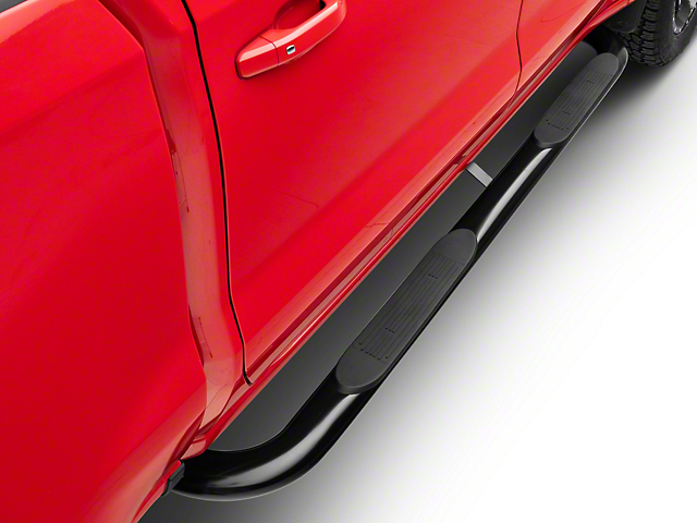 Duratrek 4-Inch Oval Bent End Side Step Bars; Black (19-20 Silverado 1500 Crew Cab)