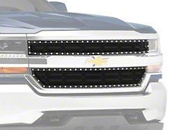 RedRock 4x4 Wire Mesh Upper Overlay Grille with Rivets; Black (16-18 Silverado 1500 w/o Z71 Package)