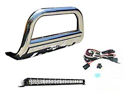 Vanguard Off-Road 3-Inch Bull Bar with LED Cube Lights; Stainless Steel (07-13 Silverado 1500)