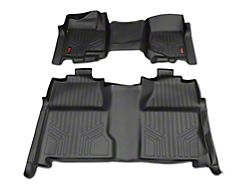Rough Country Heavy Duty Front Over the Hump and Rear Floor Mats; Black (07-13 Silverado 1500 Crew Cab)