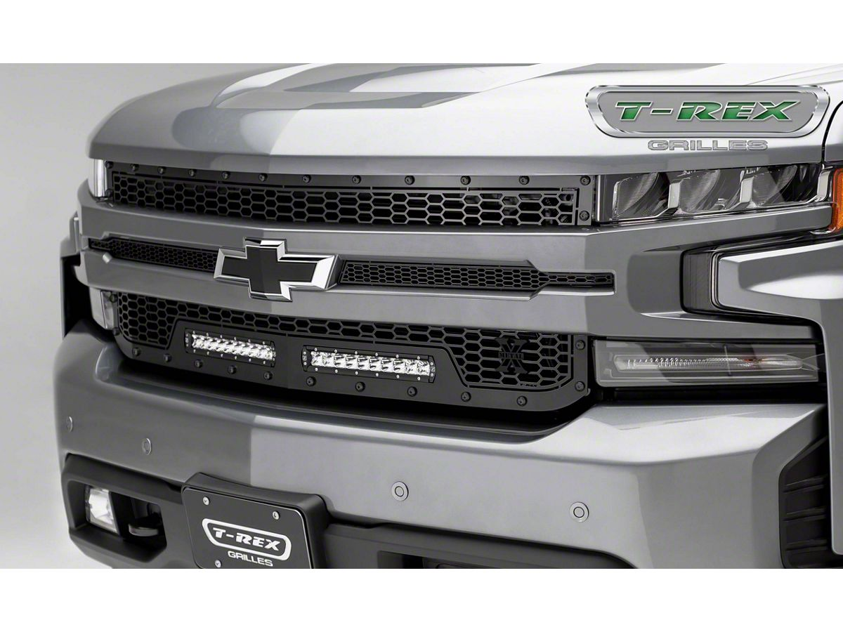 T Rex Stealth Laser Torch Series Upper Replacement Grille W Two 10 In Led Light Bars Black 19 20 Silverado 1500 Excluding Custom Custom Trail
