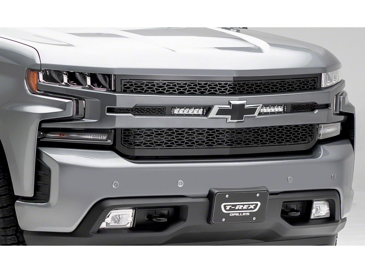 Zroadz Upper Replacement Grille W Two 6 In Led Light Bars Black 19 20 Silverado 1500 Excluding Custom Custom Trail Boss Wt