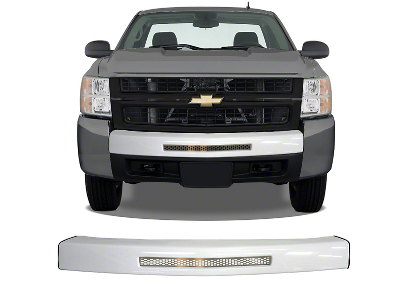 BumperShellz Front Bumper Center Section Cover w/ Bumper Air Intake Opening & Grille Insert - Gloss White (07-13 Silverado 1500)