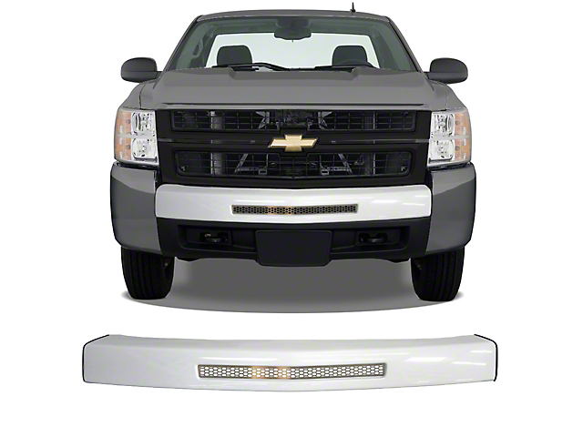 Front Bumper Center Section Cover with Bumper Air Intake Opening and Grille Insert; Gloss White (07-13 Silverado 1500)