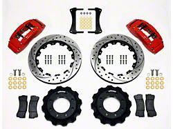 Wilwood TC6R Front Big Brake Kit with Drilled and Slotted Rotors; Red Calipers (99-18 Silverado 1500)