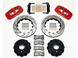 Wilwood AERO4 Rear Big Brake Kit with Drilled and Slotted Rotors; Red Calipers (99-18 Silverado 1500)