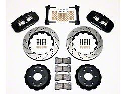 Wilwood AERO6 Front Big Brake Kit with Drilled and Slotted Rotors; Black Calipers (99-18 Silverado 1500)